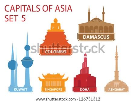 Capitals of Asia. Set 5 - stock vector