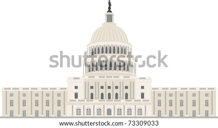 Capitol building in Washington DC, vector - stock vector