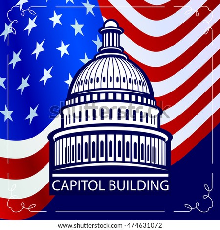 Capitol building on a background of the US State Flag