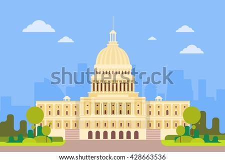 Capitol Building United States Of America Senate House Washington Vector Illustration - stock vector