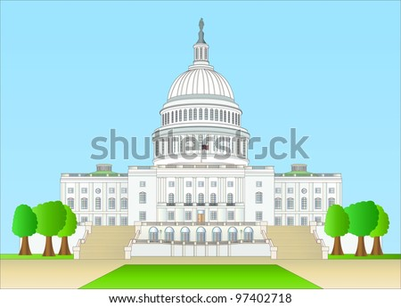capitol hill ( background on separate layer ) - stock vector