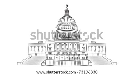 Capitol hill outline vector illustration - stock vector