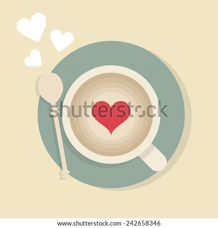 Cappuccino cup with red heart and a teaspoon from top view - stock vector