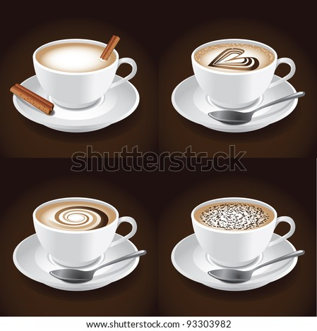 Cappuccino EPS 8 vector, grouped for easy editing. No open shapes or paths. - stock vector