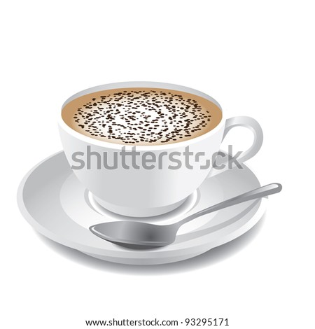 Cappuccino EPS 8 vector, no open shapes or paths. Grouped for easy editing. - stock vector