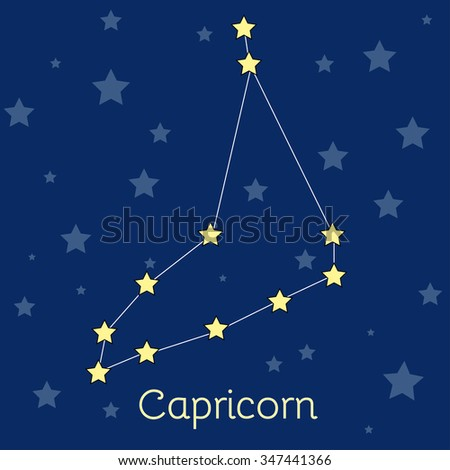 Capricorn Earth Zodiac constellation with stars in cosmos. Vector image with navy blue background and stars - stock vector