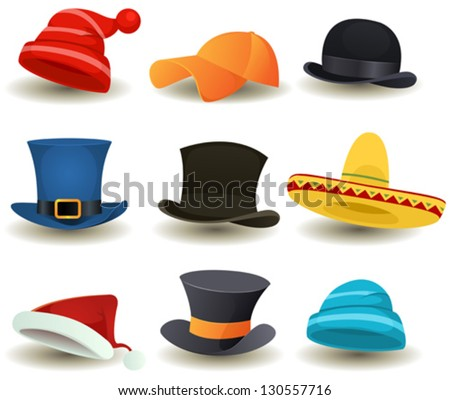 Caps, Top Hats And Other Head wear Set/ Illustration of a set of cartoon top or derby hats, baseball sport winter caps, sombreros and other head wear clothes equipment - stock vector