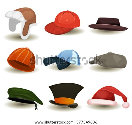 Caps, Top Hats And Other Headwear Set/ Illustration of a set of cartoon top or hats, baseball sport winter caps, military green beret, russian chapka and other headwear clothes equipment - stock vector