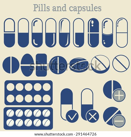 Capsules and Pill set, Medicine Tablet icon collection, healthcare, drugs, medicament - vector illustration - stock vector