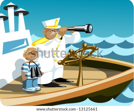 """captain and """"ship's boy"""" / succession / navigation - stock vector"""