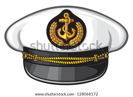 captain hat (nautical captain's hat, vector illustration captains hat, cap captain white uniform) - stock vector