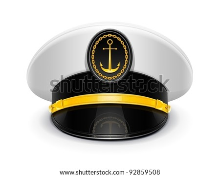 captain peaked cap with cockade vector illustration isolated on white background EPS10. Transparent objects used for shadows and lights drawing - stock vector