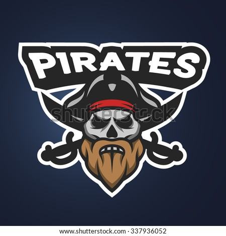 Captain Pirate Skull and crossed sabers badge, logo, emblem on a dark background. - stock vector