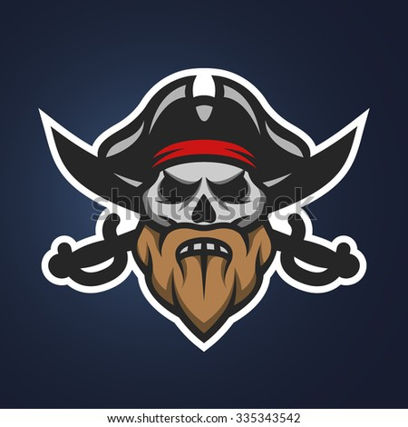 Captain Pirate Skull and crossed sabers badge, logo on a dark background. - stock vector