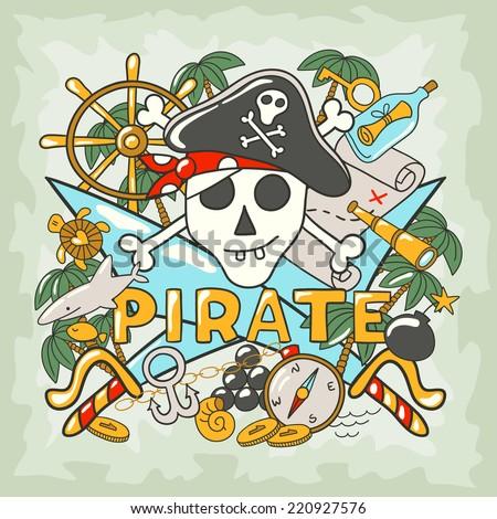 Captain pirate skull symbol, emblem. - stock vector