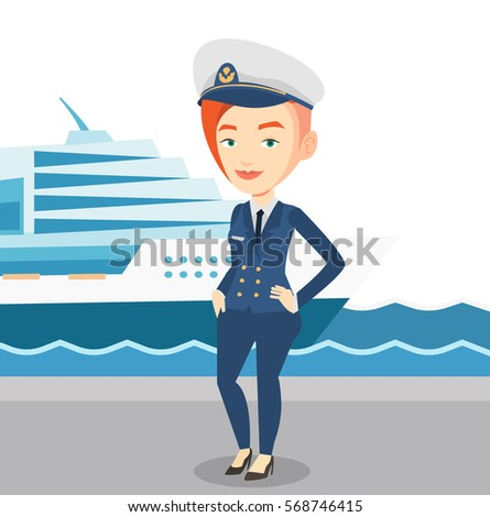Captain Standing On Background Cruise Ship Stock Vector - How to be a cruise ship captain