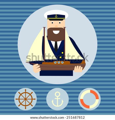 Captain with sailing boat. Profession. Vector. - stock vector