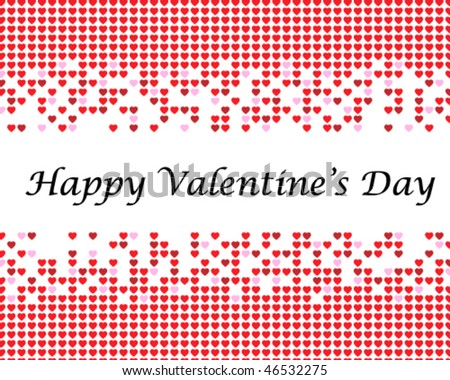 caption Happy Valentine's Day on background with small hearts
