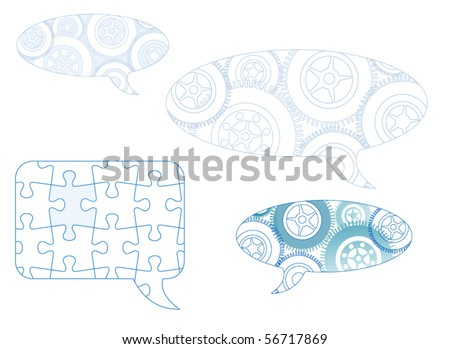 captions with puzzle and gears - stock vector