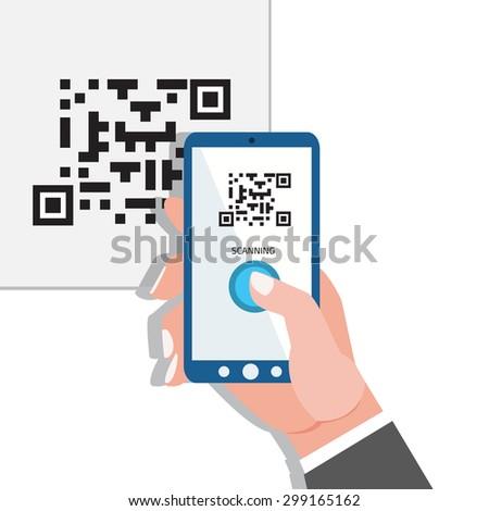 Capture QR code. Phone in hands. - stock vector