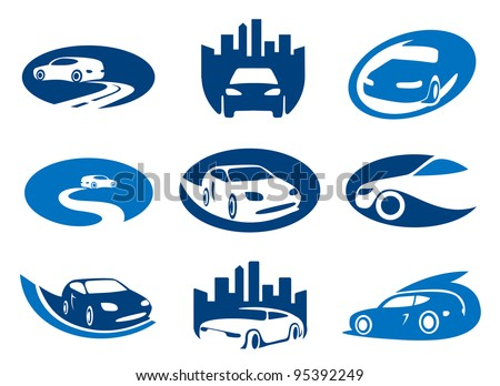 Car. Abstract element set of sign templates. Also as emblem. - stock vector