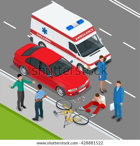 Car accident. Car crash. Flat  3d vector isometric illustration.  Accident road situation danger car crash and accident road collision safety emergency transport. Accident dangerous speed.  - stock vector