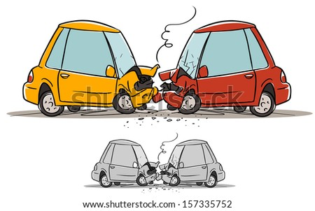 car accident. cartoon illustration isolated on white - stock vector