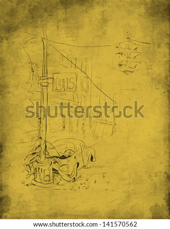 Car accident. Crash. Vector illustration. - stock vector