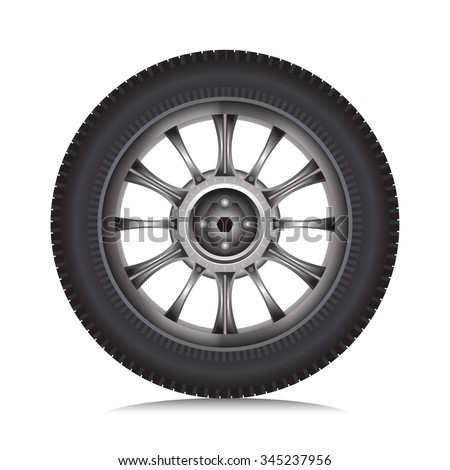 Car alloy wheel with tire isolated on white background, Vector - stock vector