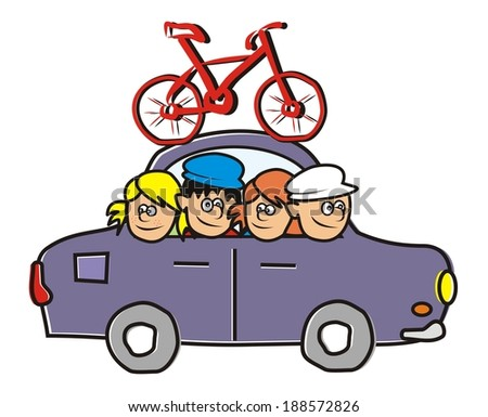 car and bicycle  - stock vector