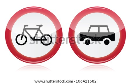 Racing Road Signs Car And Bike Icons Road Signs