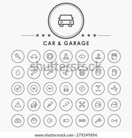 car and garage outline icon with circle button - stock vector