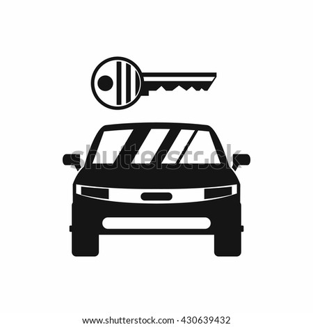 Car and key icon - stock vector