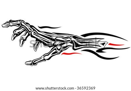 car and moto decorative abstract illustration of a skeleton hand - stock vector