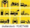Car and Motorcycle service - set of isolated vector icons. Yellow/Black signs. Gas station, tire and motor oil change, car wash. Engine inspection. - stock vector