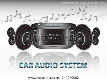 Car audio with speakers, (Car Audio System, with DVD Player and fm tuner, USB Port, aux in) illustration, easy to modify - stock vector
