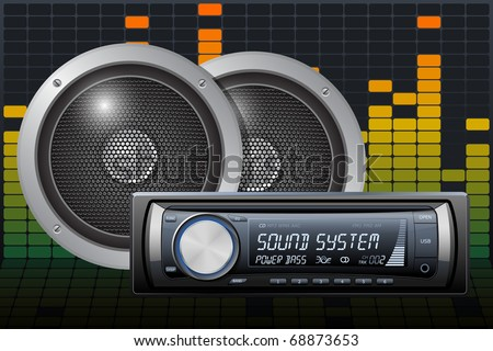 Car audio with speakers on the digital equalizer background. Vector - stock vector