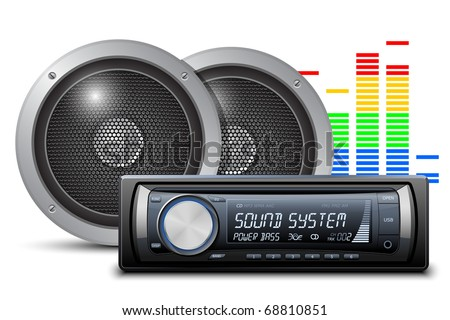 Car audio with speakers. Vector illustration - stock vector