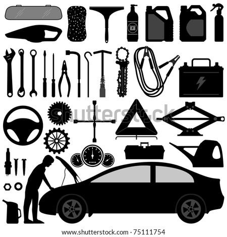 Car Auto Accessories Repair Tool Equipment Service - stock vector