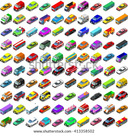 Car Auto Automobile. Vector Isometric flat Vehicles Collection Cars and Van. Transport Icons. Colorful 3D Auto Automobile Icon Set. Infographic Insight 3D Cars Isolated elements Vector Illustration. - stock vector