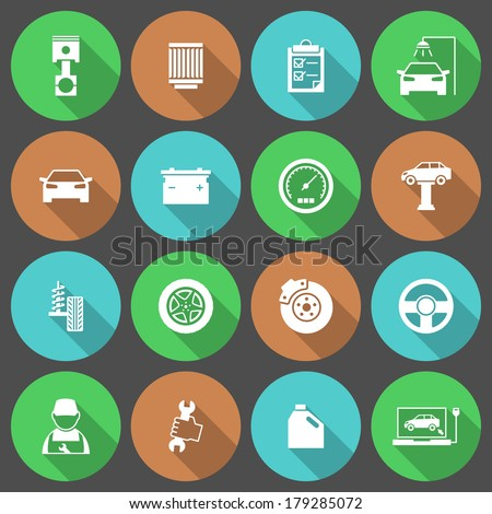 Car auto service icons set of tires parts engine oil repair and tools isolated vector illustration - stock vector