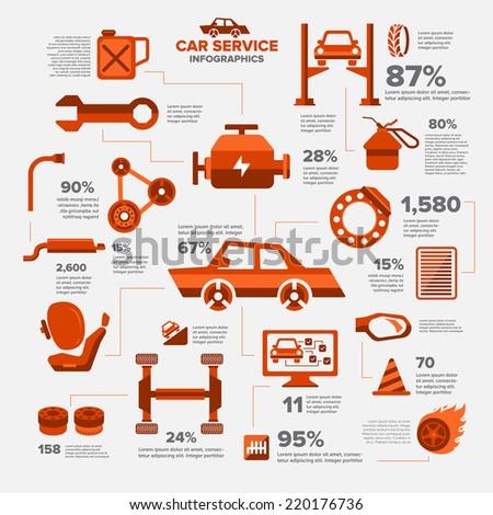 Car auto service set illustrate - stock vector