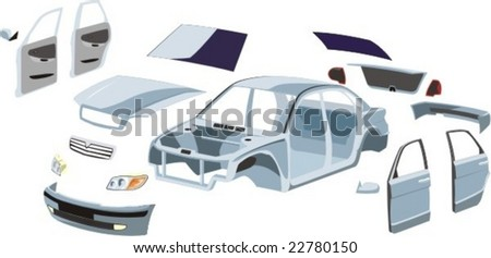 car basket and external outboard details on it - stock vector