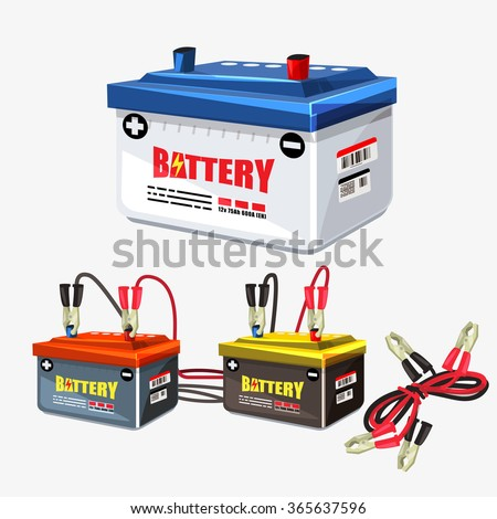 Car battery set. Jumper cable.two jumper cables clipped to the terminals - vector illustration - stock vector