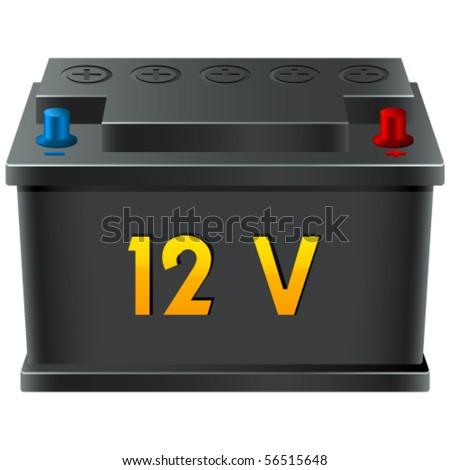car battery 12V - vector illustration - stock vector