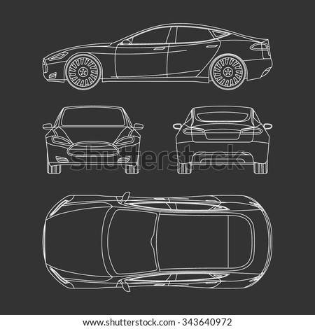 Car blueprint front four view side stock vector 343640972 shutterstock car blueprint front four view side top back all malvernweather Choice Image