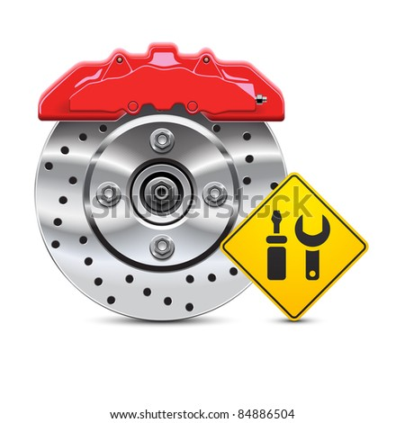 car brake disc service icon - stock vector