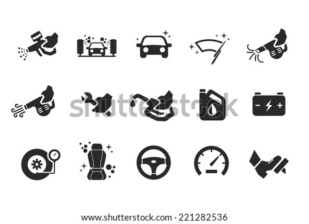 Car care icons - Illustration - stock vector