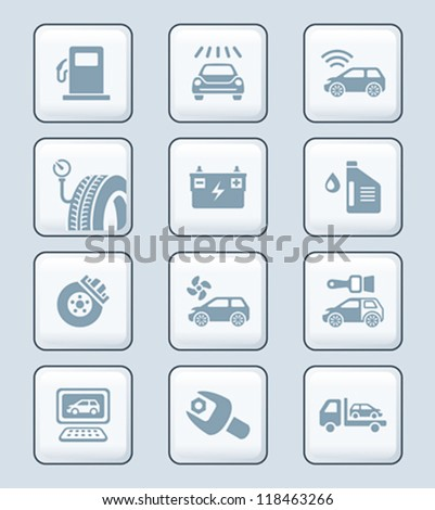 Car care, tuning, repair, and more service icons in gray - stock vector