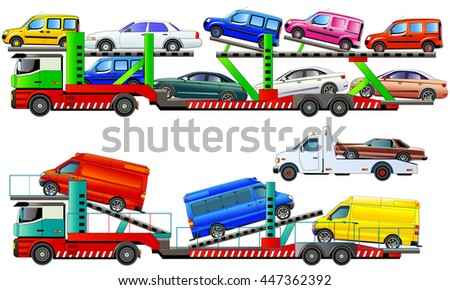 Car carrier truck, delivering new autos, vector illustration. Isolated on white. Icon. Flat style